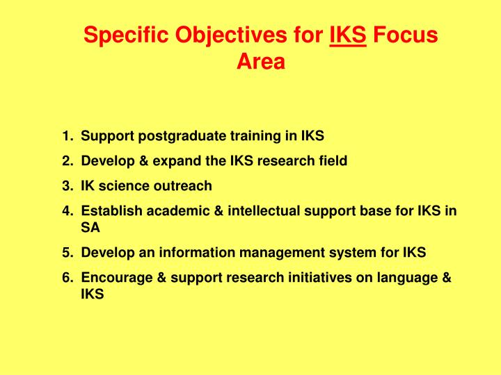 Specific Objectives for