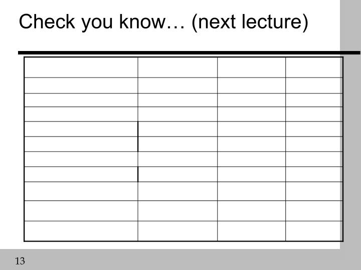 Check you know… (next lecture)