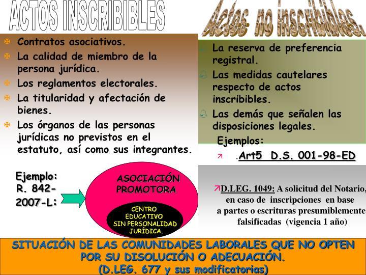 ACTOS INSCRIBIBLES