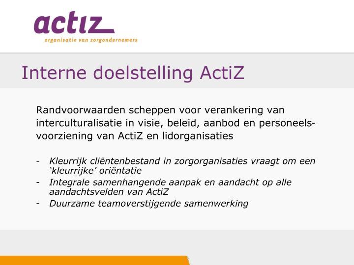 Interne doelstelling ActiZ