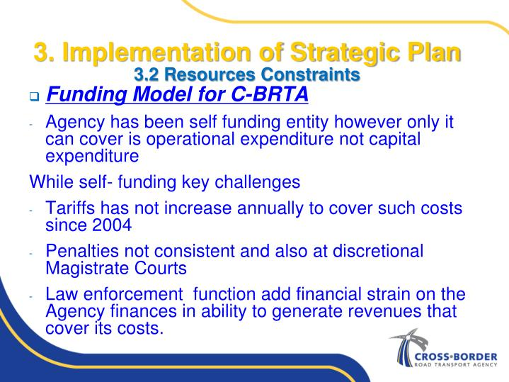 3. Implementation of Strategic Plan