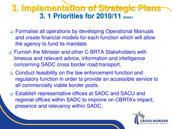 3. Implementation of Strategic Plans