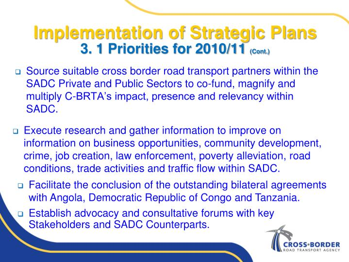 Implementation of Strategic Plans