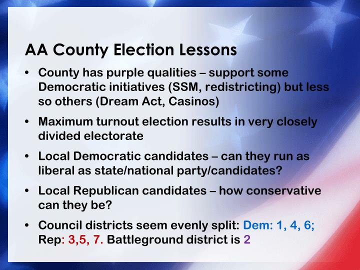 AA County Election Lessons