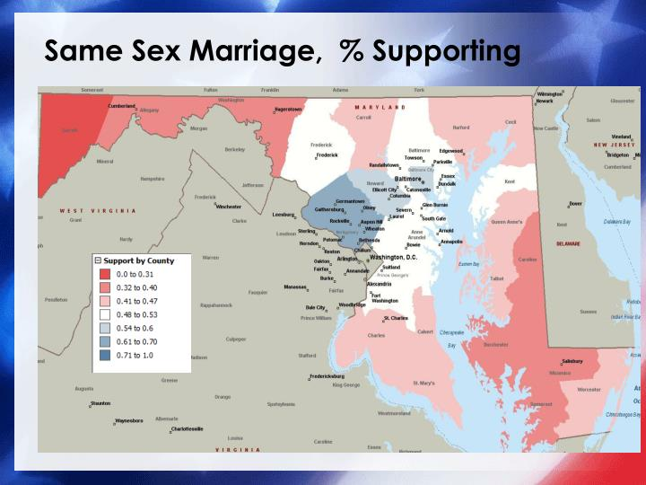 Same Sex Marriage,  % Supporting