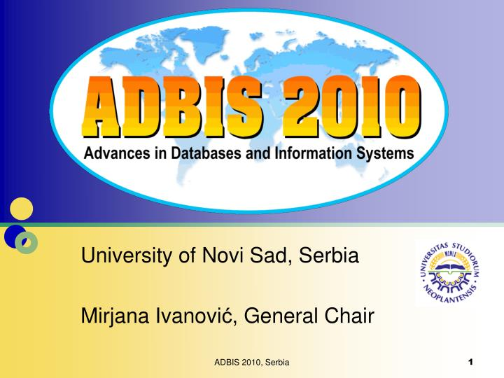 University of novi sad serbia mirjana ivanovi general chair