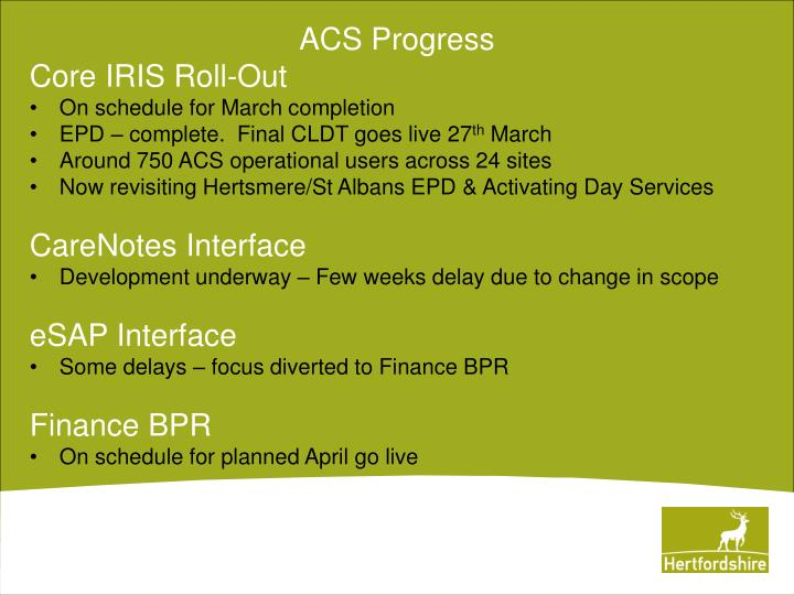Acs progress