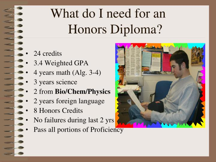 What do I need for an	   Honors Diploma?