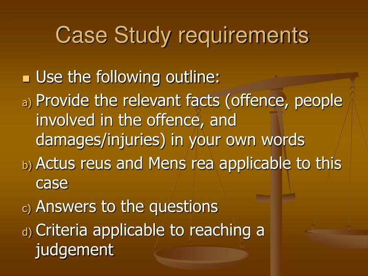 Case Study requirements