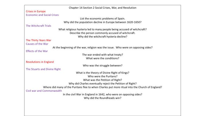Chapter 14 Section 2 Social Crises, War, and Revolution