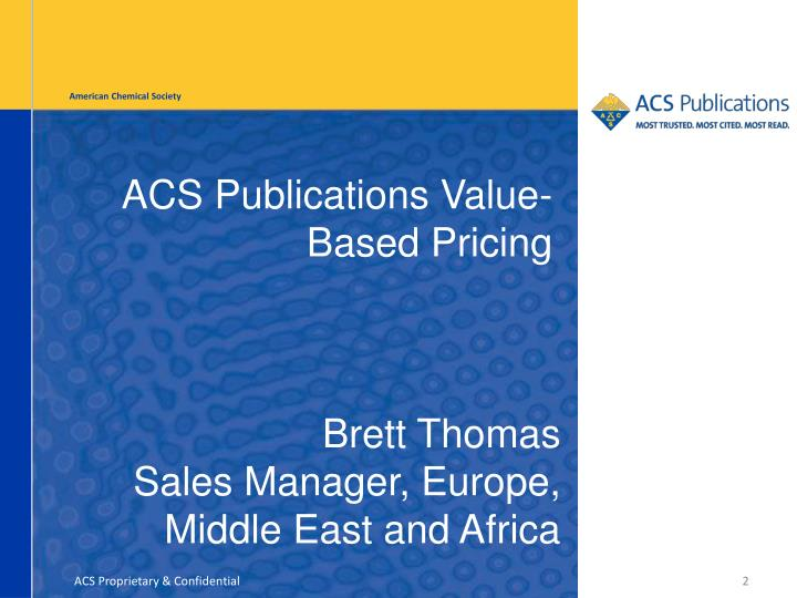 Acs publications value based pricing