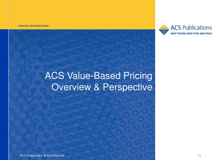ACS Value-Based Pricing