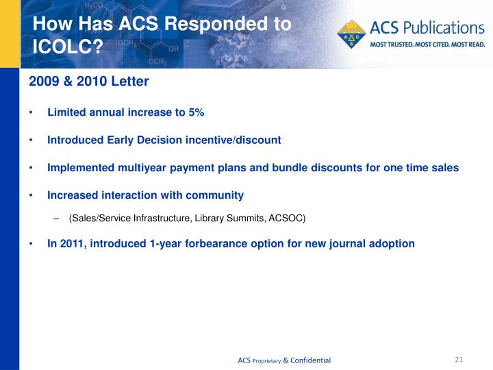 How Has ACS Responded to ICOLC?