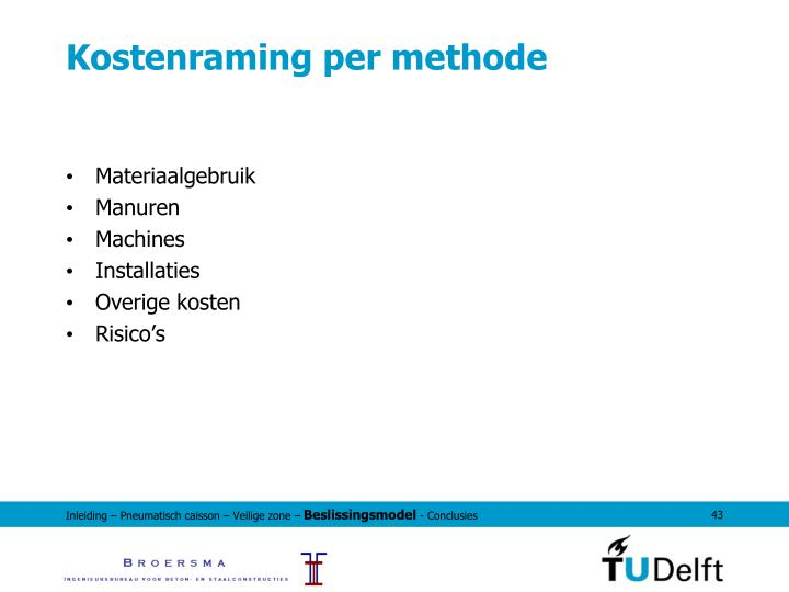 Kostenraming per methode