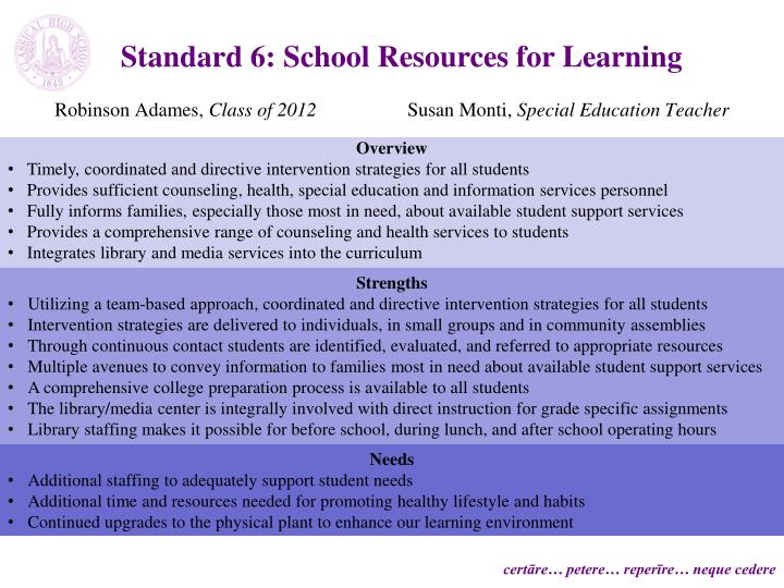 Standard 6: School Resources for Learning
