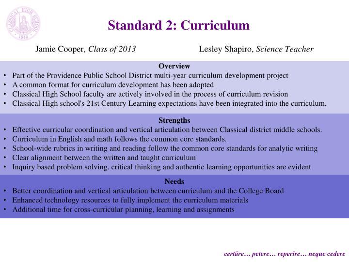 Standard 2: Curriculum