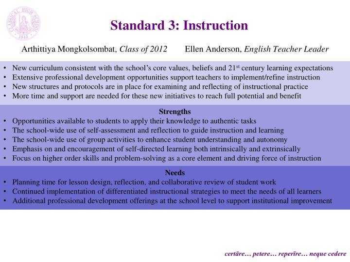 Standard 3: Instruction
