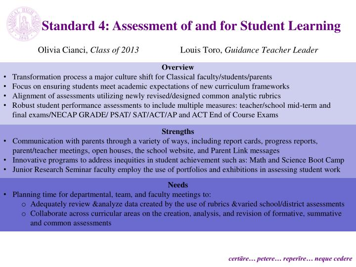 Standard 4: Assessment of and for Student Learning
