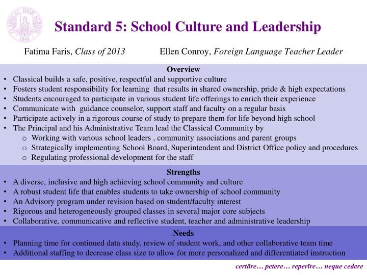 Standard 5: School Culture and Leadership