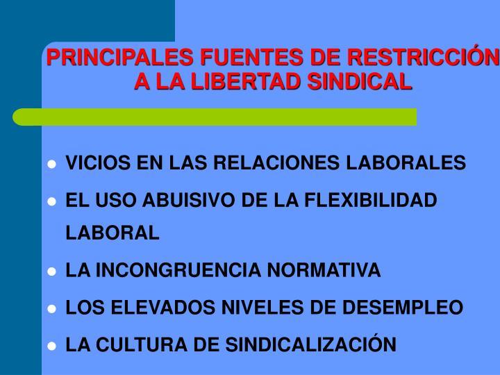 PRINCIPALES FUENTES DE RESTRICCIÓN A LA LIBERTAD SINDICAL