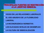 principales fuentes de restricci n a la libertad sindical
