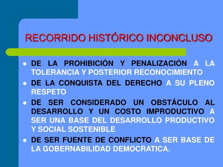RECORRIDO HISTÓRICO INCONCLUSO