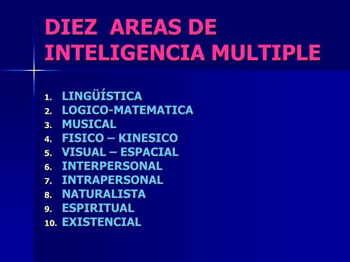 DIEZ  AREAS DE INTELIGENCIA MULTIPLE