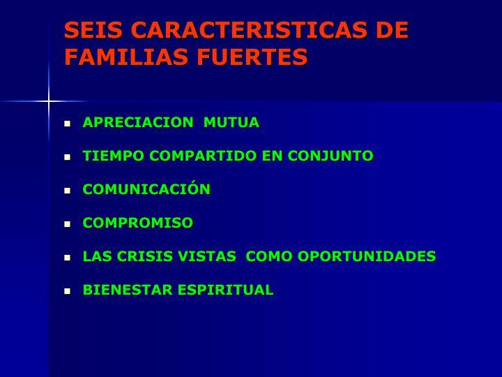 SEIS CARACTERISTICAS DE FAMILIAS FUERTES