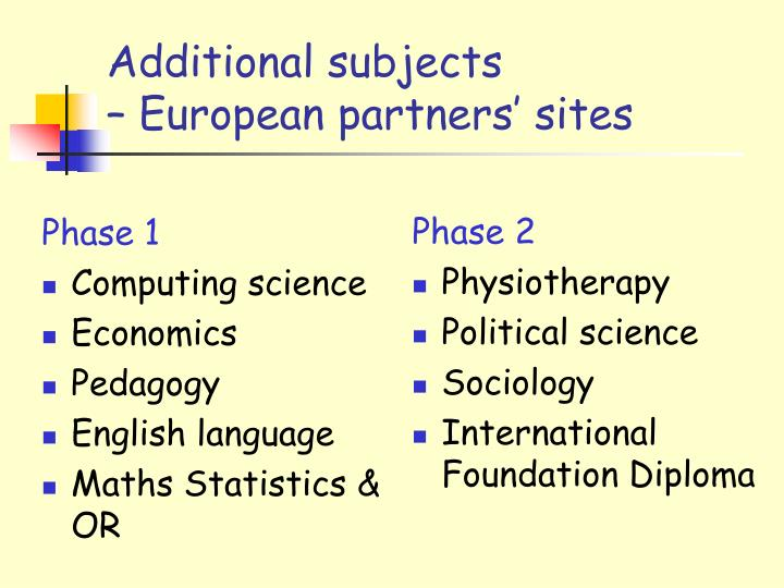 Additional subjects