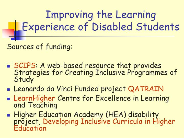 Improving the Learning Experience of Disabled Students