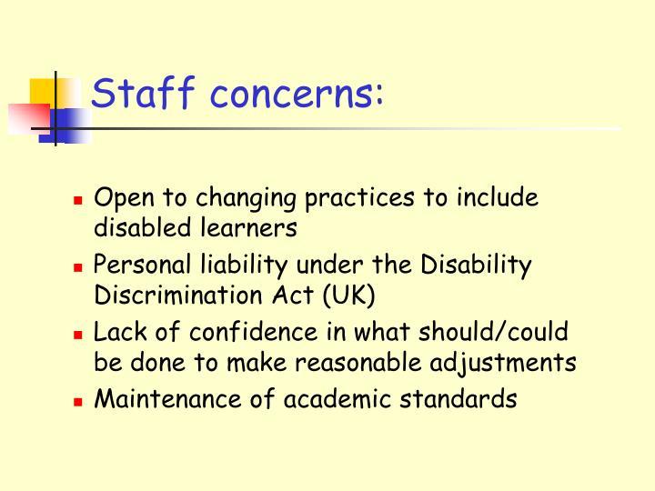 Staff concerns