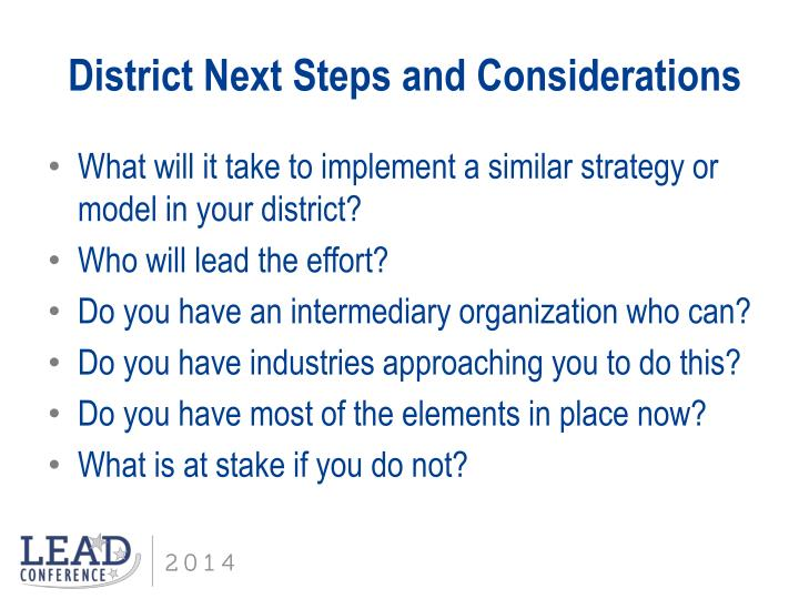 District Next Steps and Considerations