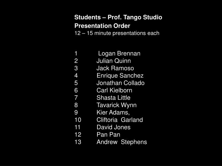 Students – Prof. Tango Studio