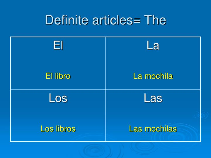 Definite articles= The