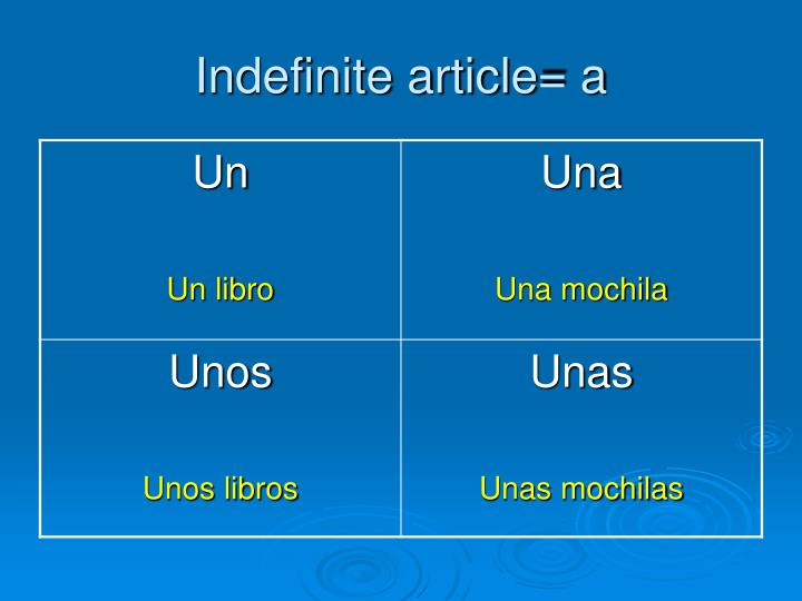 Indefinite article= a