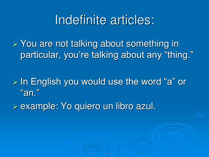 Indefinite articles: