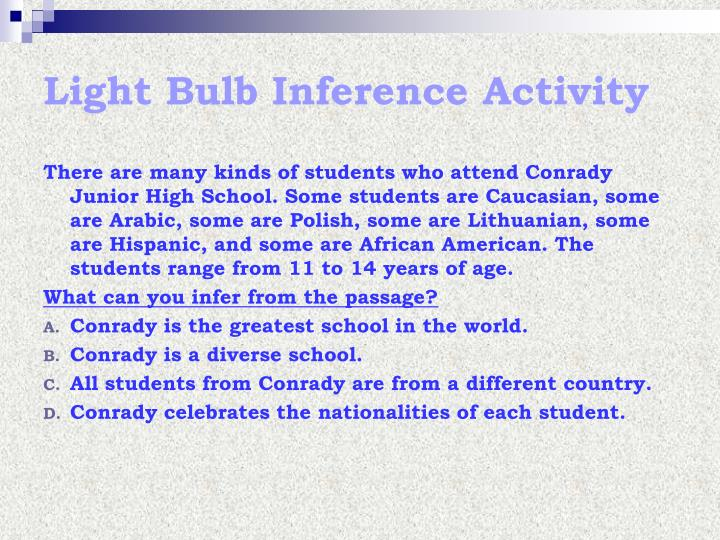 Light Bulb Inference Activity