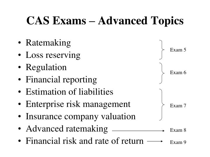 CAS Exams – Advanced Topics