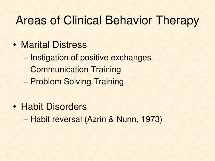 Areas of Clinical Behavior Therapy