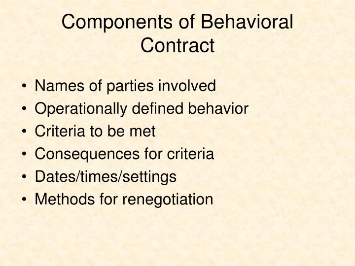 Components of Behavioral Contract