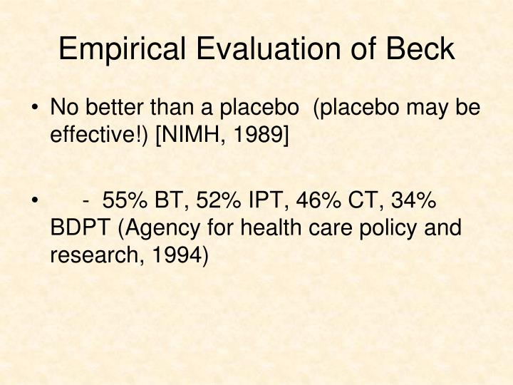 Empirical Evaluation of Beck