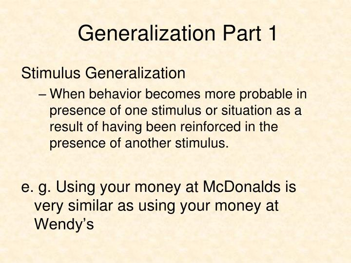 Generalization Part 1