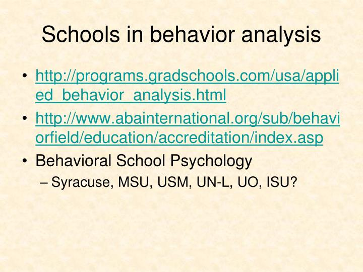 Schools in behavior analysis