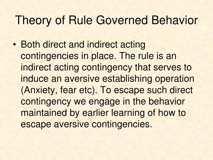 Theory of Rule Governed Behavior