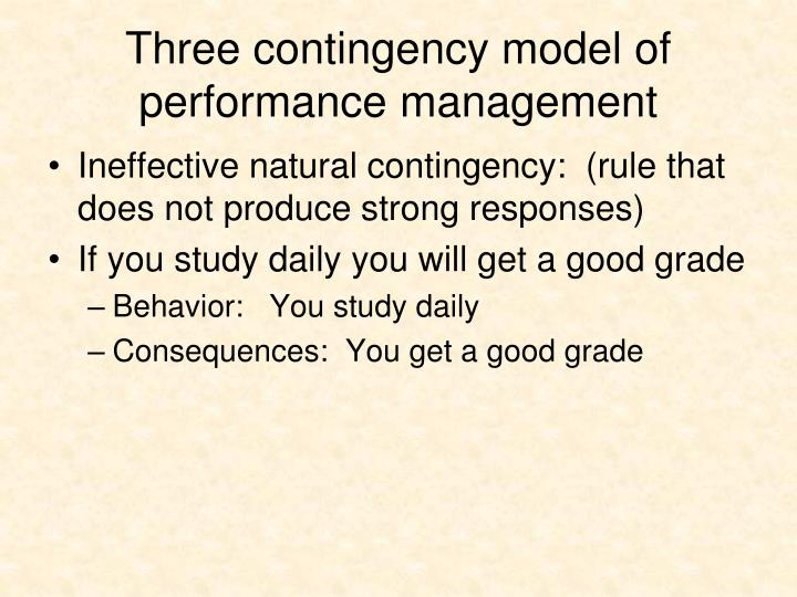 Three contingency model of performance management