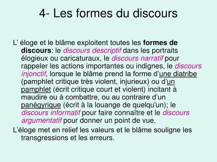 4- Les formes du discours