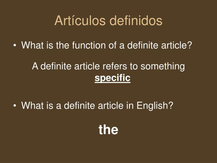 Artículos definidos