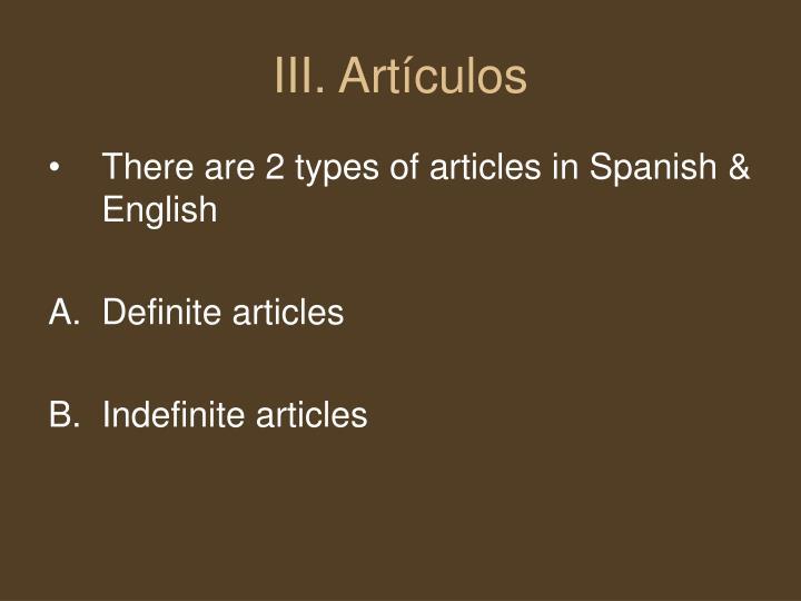 III. Artículos