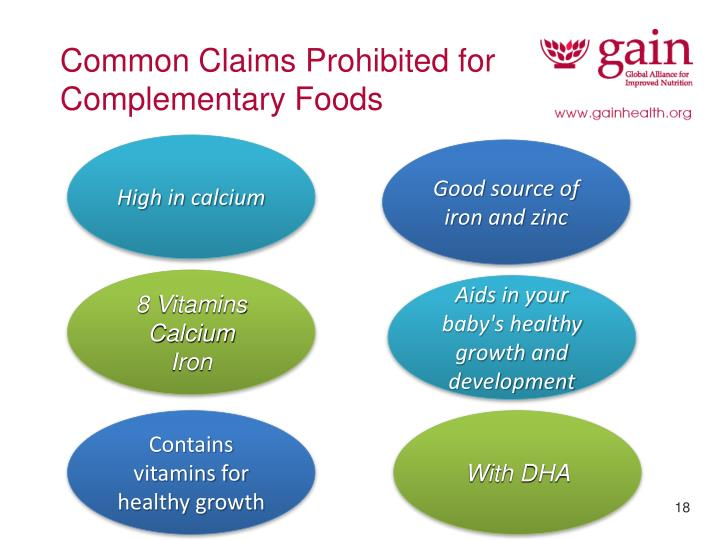 Common Claims Prohibited for Complementary Foods