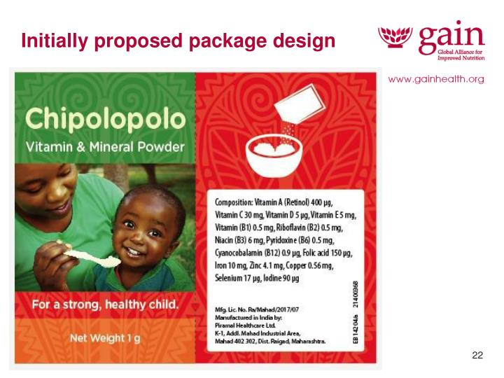 Initially proposed package design